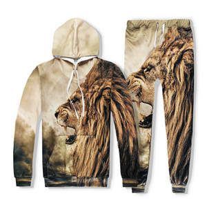 2020 New Men Casual Sets Lion Head Hot Sale 3D Digital Printing Man Fashion Hip Hop Male Sets Long Sleeve Big Size XXL 1004