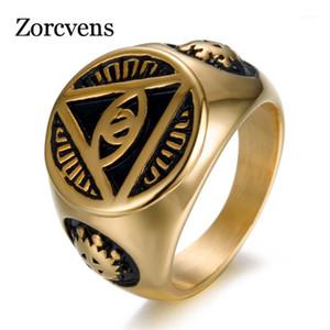 Modyle 2020 Marka Moda Gümüş Renk Altın Renk Tanrının Gözü 316L Titanyum Paslanmaz Çelik Erkekler Biker Ring1