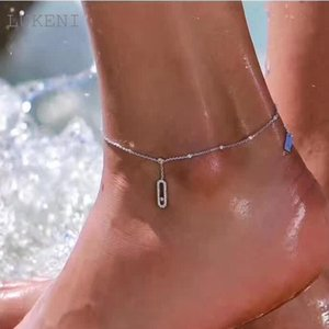Lukeni New Design Women S925 Sterling Silver Micro Inlay Zircon Geometrical Barefoot Sandals Anklet Foot Chain Jewelry Gift T190620