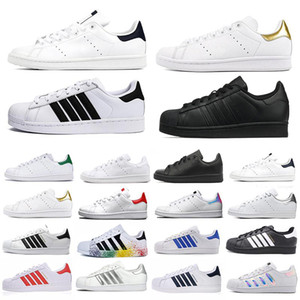 Stan Smith Superstars Erkek Üçlü Beyaz Koşu Ayakkabıları Hologram Platformu Hakiki Deri Moda Düz Ayakkabı Erkek Kadın Eğitmenler Spor Sneakers