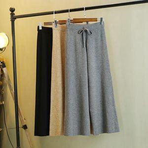 GIGOGOU élégant Automne Hiver Femmes en tricot Pantalons Pull long en vrac Casual Cordon de réglage Pantalon droit taille haute femmes Plaid Pant 1020