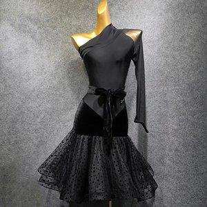 Single Sleeve Latin Dress Women Dancing Performance Dress Autumn And Winter New Practice Clothing For Rumba Salsa Costume B1136