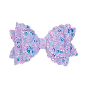 Bambini Hairpin Bowknot Glitter Hair clip capelli ornamento per bambini copricapo stampato accessori per bambini Paillette bow wrap bordo clip EEB4349