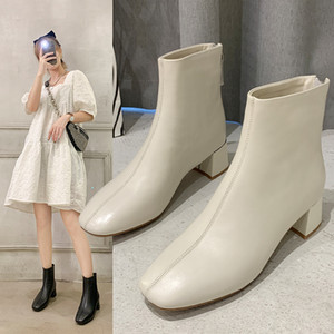 Square Toe Chunky Heel Short Boots Female 2020 Autumn and Winter British Style Mid-Heel Skinny Boots Soft Leather Versatile Fashion Boots On