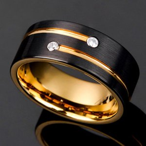 Black Gold Color Tungsten Carbide Ring For Men Women Wedding Band Anniversary Inlay Shiny CZ Stone Rings Jewelry 201026