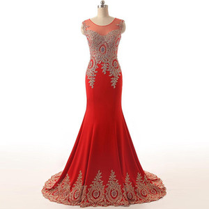 2021 Red Mermaid Formal Evening Dresses Gold Lace Appliques Sheer Neck Sleeveless Court Train Plus Size Prom Party Gown