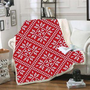 3D Printed Mandala Geometric Winter Blanket Thick Plush Edge Red Plaid Warm Blanket Bedspread Bed Sofa Throw Blankets