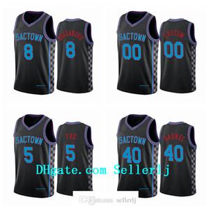 Men 5 Fox 40 Barnes 8 Bogdanovic Buddy Hield SacramentoKingsJersey Black City Sactown 2020-21 Jersey