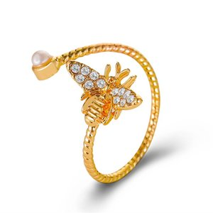 20pcs Lot Brand New Animal Bee Finger Rings Female Adjustable Pearl Hand Jewelry With Diamond Copper Gold Ring Fashion Accessories
