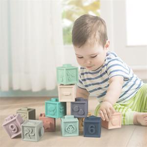 Atacado bebê brinquedos macios Silicone silicone blocos de construção educacional 3d pendurado bola bebês borracha Teether squeeze brinquedos para crianças