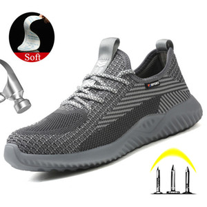 Yuxiang Lightweight Summer Breathable Work Sneakers Safety Shoes With Metal Toe Puncture-Proof Safety Boots Indestructible Shoes LJ200917