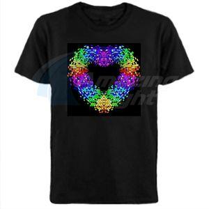 Heart Design Hot sale unisex 100%Cotton el sound active t shirt led sound active t-shirt with DC3V inverter