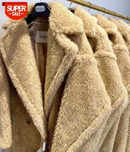 camel wool Teddy Bear Jacket Coat Women Winter 2020 Thicken Warm Oversized gold silk Outerwear Overcoat Women Cashmere Fur Coats #UM9g