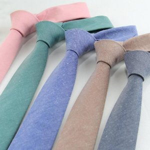RBOCOCotton Ties Solid Necktie 6cm Slim Tie Men's Casual Plain Skinny Neck Tie Blue Gray Green Red For Men Business Wedding