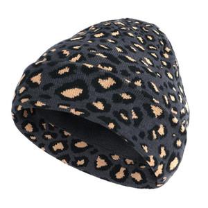 Leopard stampato addensare cappello lavorato a maglia cappello caldo inverno Skullies beanie cap per gli uomini e le donne 69
