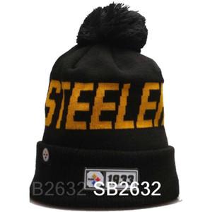 New England Aniversario Steelers Beanie línea lateral en clima frío grafito Deporte Gorro de lana todo el equipo de invierno de punto de lana a17 casquillo del cráneo Gorros