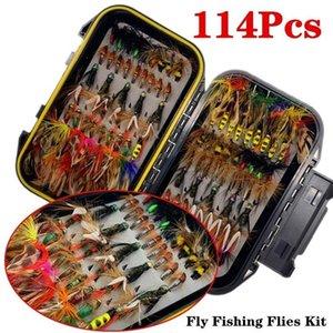 50 / 114Pcs / Set Fly Fishing Lure Box Set humide Matériel Nymphe Mouches Appât sec Mouches faux pour la truite Peche 201019