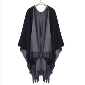 Wholesale- New Winter Women Overwear Coat Oversized Knitted Cashmere Poncho Capes Duplex Shawl Cardigans Sweater With Tassel New