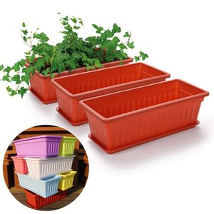 3Pcs Balcony Garden Flower Bonsai Bowl Nursery Basin Planter Imitation Rectangular Vegetable Flower Planter Resin Planting Pot Y200723