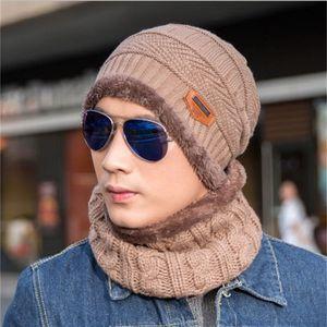 hats designer hat 11 colors Autumn and winter hat mens hats knit wool cap plus velvet thickening cap [hat + collar] sets NE-cap1