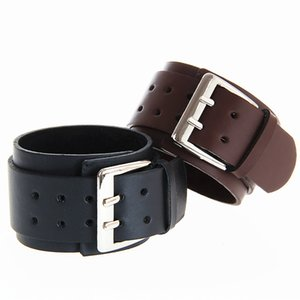 Retro wide leather bracelet fashion punk rock exaggerated double leather big buckle men