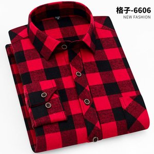 100% Cotton Flannel Men's Plaid Shirt Slim Fit Spring Autumn Male Brand Casual Long Sleeved Shirts Soft Comfortable 4XL Y0104