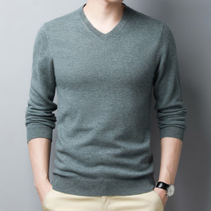 Autumn Winter Wool Sweater Men Bottoming Shirt V-Neck Pullover Knitting Solid Color Thin Clothes