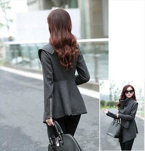 Black Newly Listed Autumn Spring Coat Womens Overcoat Temperament Slim Trench Design Women Wool Blends S 4XL