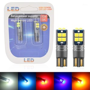 2PCS CANBUS 12-24V W5W T10 LED 3030 LED 10SMD Car Interior Reading Light Marker Lamp 168 194 Auto Wedge Parking Dome Bulbs1