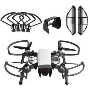 Para DJI Spark Drone Accessories Kits, Guardias de la hélice Equipo de aterrizaje plegable, capucha de lentes Sombra de sol, Tablero de protección de los dedos (paquete de 3)