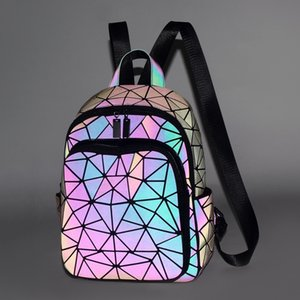 The Latest Diamond Lattice Women Backpack Purse Kawaii Gray Luminous Travel Backpack Fashion Girls Boys School Bags JC10171 LJ210203