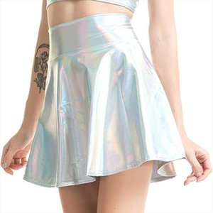 Holographic Pleated Skirts Women Pu Solid Harajuku Casual Sexy Laser Hight Waist Micro Mini Short Skirts Women Dropshipping Y3