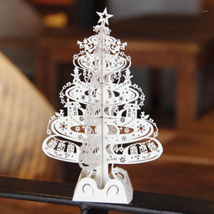 Wholesale-10pcs Christmas Tree Gifts 3D Laser Cut Up Cards Decoration Greeting Card display Merry Christmas Party Supplies 50221