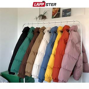 Lappster Men Harajuku Colorato Colorato Bolla Cappotto Inverno Giacca invernale 2020 Mens Streetwear Hip Hop Parka Coreano Black Bleass Bulder Giacche