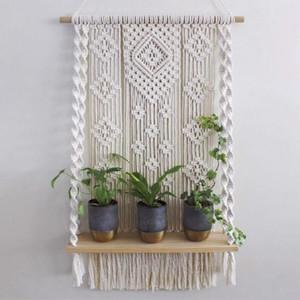 Tela Bohemia teñido Tapiz cordón de la borla de Boho de la decoración del hogar regalo colgantes planta de Estantería de pared Tapiz Macrame pared del arte hecho a mano