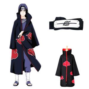Anime Naruto Uchiha Cosplay Cadılar Bayramı Noel Partisi Kostüm Naruto Cloak Cape Akatsuki Kostüm pelerin