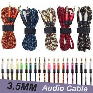 Cric AUX câble audio Nylon Braid 1,5M Câble casque code d'extension pour les téléphones portables MP3 Haut-parleur Tablet