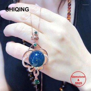 Correntes shiqing 5a natureza azul âmbar 925 esterlina prata encantador longo colar1