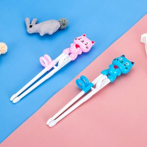 Enfants Formation antidérapage Chopsticks apprentissage portable bébé supplément alimentaire à manger Vaisselle Nourrir Pratique Cartoon Chopsticks DHD2920