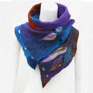 Fashion Women Vintage Printing Button Soft Wrap Casual scarf Women Winter Warm Scarves Shawls Outdoor New designer Silk Scarf 201021
