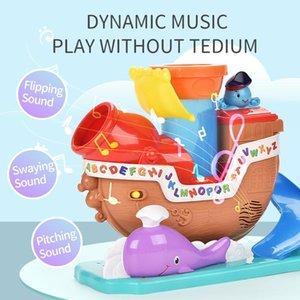 ألعاب كهربائية موسيقية حيوية القراصنة السفينة نموذج يمكن المدفعية حريق كهربائي القراصنة السفينة لعبة ولعب الأطفال هدية اللعب