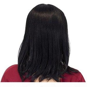 Anchura de la espalda recta corta pelucas de pelo negro natural Postizos sedoso con plana Bangs peluca de cabello humano