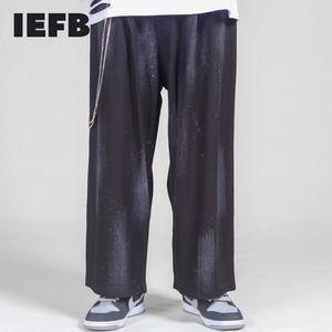 IEFB / Use el uso de los hombres Pantalones de longitud del tobillo de la cintura elástica suelta Moda Pantalón de la pierna ancha antigua Pantalones casuales con cadena Nuevo 9Y4176