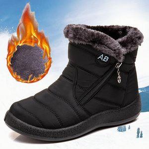 HKXN 2020 Winter Schneeschuhe Plüsch Warme Knöchelstiefel Für Frauen Wasserdichte Frauen Weibliche Zip-Booties T Fur1