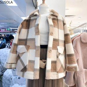 2020 Giacche autunnali per le donne Fashion Wool Blends Faux pelliccia di pelliccia Faux Giacca femminile Cappotto invernale Womens Spessore caldo LJ201106