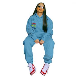 Tasarımcı Tracksuits Sonbahar Kış Kapüşonlular 2 Adet Giyim Seti Moda Günlük Kadın Giyim Dijital Baskı Kadın