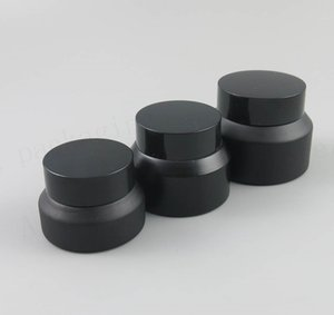New Design 200 x 15G 30G 50G Frost Cream Glass Jar With Black Lids white Seal Container Cosmetic Packaging, 15ml Pot