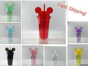 8 Colors 15oz Mouse Ear Tumblers with Dome Lid 450ml Acrylic Cups Straws Double Walled Clear Travel Mugs Cute Child Kid Water Bottles