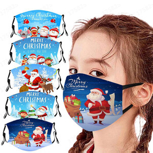 2020 New Fashion Party Masks 10 Styles kid Adulsts Reusable 3D Print Cotton Santa Claus Fun Protective Christmas Snowman Mouth Face Mask