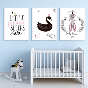 Black Swan Poster Ballerina Shoes Canvas Painting Quote On The Wall Flower Art Print Modern Picture For kids Room Home Decor